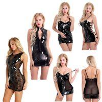 Women Shiny Leather  Front Zipper Wetlook Night Club Bodycon Mini Dress Clubwear
