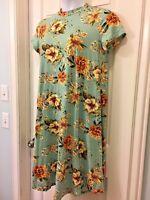 Plus Size Floral Print Dress Mint Green Short Sleeve Figure Flattering 1X 2X 3X