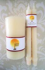 Handmade 100% Beeswax Wedding Unity Candle Set - White (Ivory)
