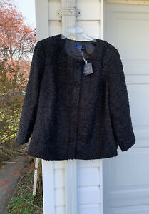 NWT Talbots Gorgeous Black Woven With Silver Shimmer Lined Blazer 18W 2X