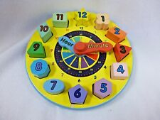 MELISSA AND DOUG SHAPE SORTING CLOCK #159 USED WOODEN Child Educational Toy