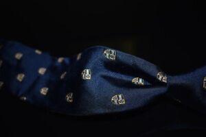 NWT Polo Ralph Lauren Italy Navy Stripe Gold Crest Shield Emblematic Silk Tie NR
