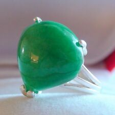 RARE! 18.10 ct NATURAL PEAR CUT EMERALD RING 925 STERLING SILVER.SIZE 6.75