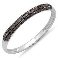 0.20 CT 18k White Gold Black Diamond Ladies Bridal Anniversary Wedding Band Ring