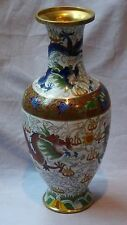 ANTIUE19C CHINESE CLOISONNE VASE  5 CLAWED IMPERIAL DRAGON,FLAMING PEARL#1