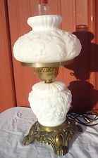 Vintage White Milk Glass Embossed Relief Floral GWTW Hurricane 3 Way Table Lamp
