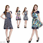 Petite Womens Floral Polka-dot Chiffon Dress Size 10 12 14 Cap Sleeve