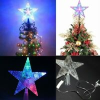 Color Changing LED Star Light Christmas Tree Ornaments Topper Home Party Decor