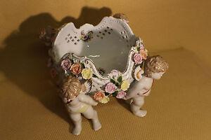 Porzellan Figur Prunkschale Putten Engel Vergoldung Rosen Blumen GDR  *5234