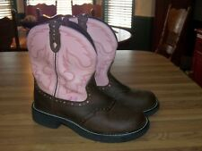 Justin Gypsy Ladies Short Cowboy Boots Size 9B Pink/Brown leather L9901