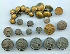 Lot 20 Vintage Brass Buttons Uniform Military Nav Army Misc 2