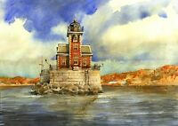 Hudson-Athens Lighthouse, Hudson River, New York. Matted Watercolor Art Prints