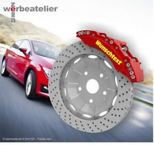 4x Bremssattel Aufkleber WUNSCHTEXT - Auto Tuning Styling alle Fahrzeuge Typen