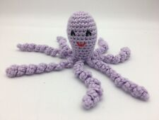 "Crochet Handmade Baby Octopus Toy Lovey Gift Newborn Preemie Purple Stuffed 7"""