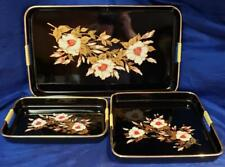 Toyo Japanese Black Lacquer Nesting Serving Tray 3 Piece Set Floral Gold Trim