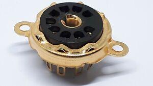 B9A Valve Tube Holder Base Black Plastic Insulation Gold Plated Solder Tags PK3