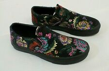 Women's Vans Classic Slip On Satin Embroidered Floral Flower Shoes Size 8