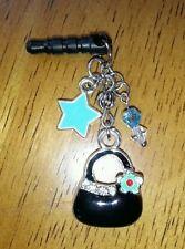 Very Cute Black Purse Charm phone Dust Plug. Fits Standard 3.5mm Earphone Jacks.