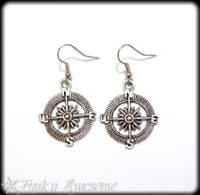 Compass EARRINGS.  Silver Tone. Kitsch, Vintage Style, Retro.  By Funk n Awesome