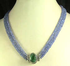 220Cts NATURAL TANZANITE NECKLACE 3 STRAND - EMERALD CLASP FREE EARRINGS