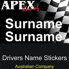 Motor Racing Driver Surname Name Sticker Decal - CAMS Rally Drift Race