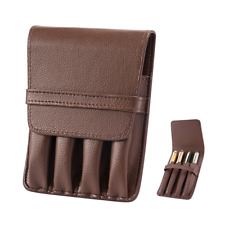Pen Pouch Case PU Leather Holder for 4 Fountain Rollerball Pen Storage Separate