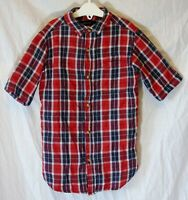 Boys River Island Red White Blue Check Short Sleeve Lined Shirt Age 6 Years