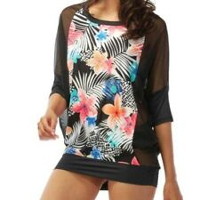 Coco Rave Women's Swimsuit Cover-Up Size S/M Mesh Banded Chiffon Tunic