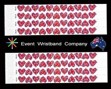 100 x Hearts Tyvek, party, security, wristbands