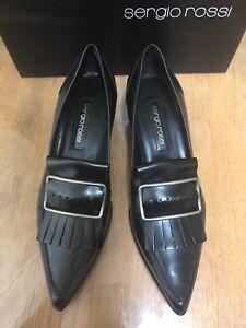 BNIB SERGIO ROSSI SHOES SIZE 38.5 Black Leather