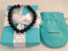 """Tiffany & Co Heart Tag In Silver On A Black Onyx Bead Bracelet. 7.5"""". Beads 8mm"""