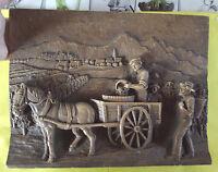 Ancien Tableau Kitch Imitation Bois Scène vendanges et vendangeurs Bourgogne