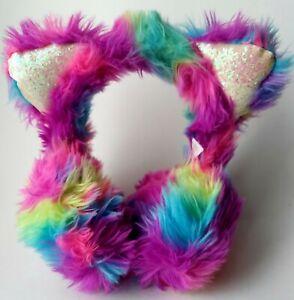 Justice For Girls Rainbow Faux Fur Cat PomPom Winter Earmuffs