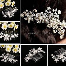 Bridal Jewellery Silver Rhinestone Wedding Flower Pearls Hair Comb Clip N4U8