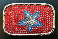 Red Rhinestones Super Star Western Belt Buckle Boucle De Ceinture