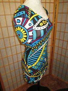 New Stretch Knit Print Bodycon Short Sleeve Scoop Neck Dress POP ART mod M