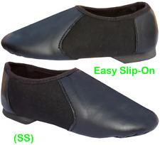 Slip On Jazz Modern Dance Shoes Leather Fabric Split Sole Black Irish Ballet