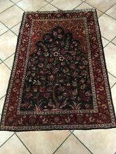 tapis ancien persan laine et soie oiseaux et fleurs