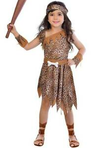 Girls Cavegirl Fancy Dress Costume Cave Girl Stone Age Kids Tarzan 4-12 Years