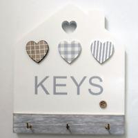 Shabby Chic Keys Key Rack Holder House Shaped 3 Hooks Wooden Grey 19.5cm 76217