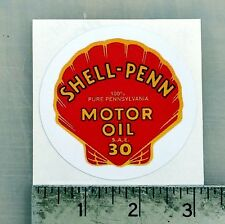 "Vintage Shell-Penn Motor Oil sticker decal  3"" dia."