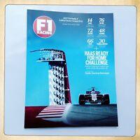 F1 Racing Magazine Programme Guide USA Austin Formula One GP October 2017