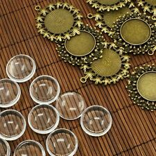 10x  Antique Bronze Transparent Domed Cabochon Cover Alloy Photo Pendants Making