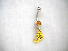 14g Golden Yellow Belly Ring Navel Barbell New Goldtone Ohm / Om / Aum Charm
