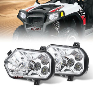 Fit 2011-14 Polaris RZR 800 Newest 2X LED Conversion Headlights Kit 900 XP Style