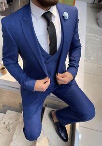 Slim Fit Herrenanzug in Blau mit Weste  -Smoking-Anzug-Hochzeit-Bühne-Sakko