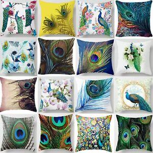 Cushion Cover Peacock Feather Art Pillow Case 2021 Bed Sofa Car Decor Throw UK