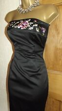 ❤️ COAST strapless Embroidered black Wiggle Satin Party Wiggle dress size 6 8