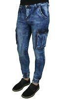 Jeans uomo Cargo Blu Denim casual slim fit aderenti con tasconi laterali