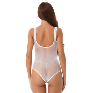 Women Glossy Bodysuit Transparent Sleeveless Lingerie Leotard Babydoll Nightwear